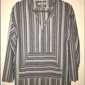 Full length Blue & Gray Stripped Caftan. S-M